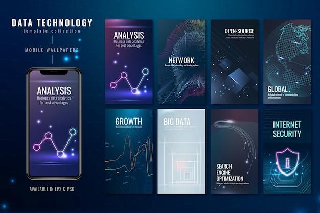 Conjunto de psd de modelo de banner de tecnologia de dados