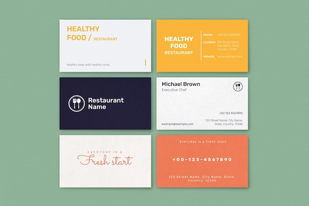Conjunto de psd de modelo de cartão de negócio de restaurante