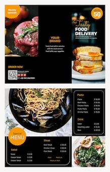 Conjunto de psd de modelo de folheto de entrega de comida
