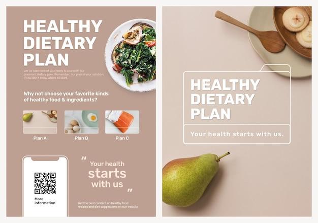 Conjunto de psd de modelo de pôster de programa dietético