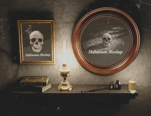Conjunto de quadros halloween preto atmosfera