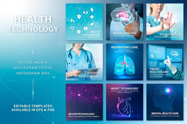 Conjunto de remix digital psd de modelo editável de tecnologia de saúde