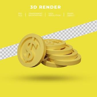Conjunto de renderização 3d de moeda de dólar e ouro isolado