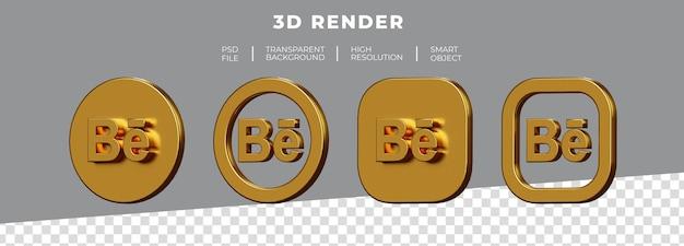 Conjunto de renderização 3d do logotipo dourado behance isolado