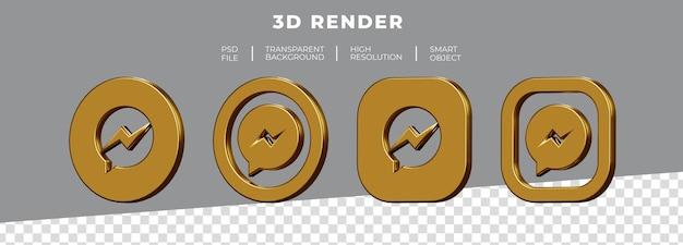 Conjunto de renderização 3d do logotipo dourado do facebook messenger isolado