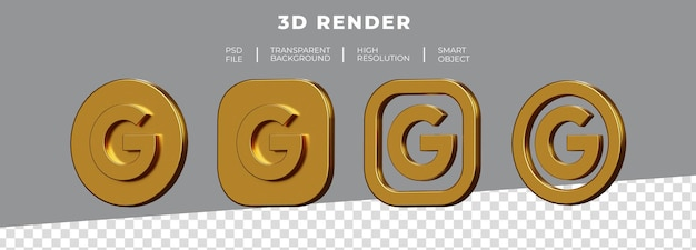 Conjunto de renderização 3d do logotipo dourado do google isolado