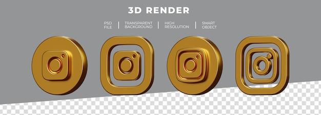 Conjunto de renderização 3d do logotipo dourado do instagram isolado