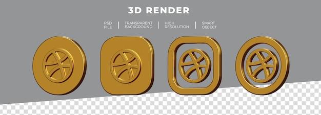 Conjunto de renderização 3d do logotipo dourado dribble isolado