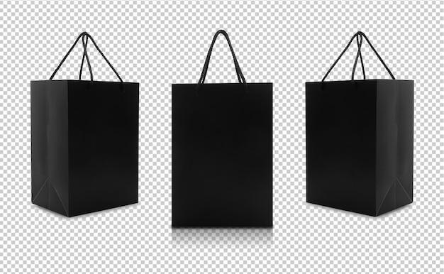 Conjunto de sacos de papel preto com alças