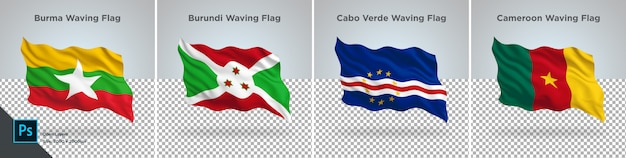 Conjunto de sinalizadores de burma, burundi, cabo, camarões bandeira definido em transparente