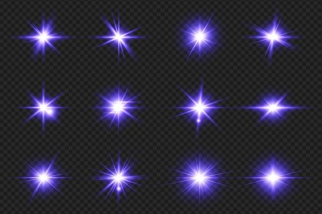 Conjunto de sinalizadores de lentes brilhantes realistas