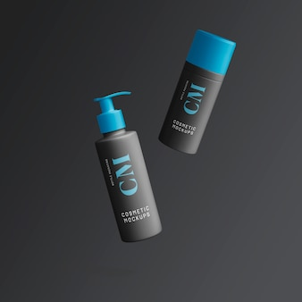 Conjunto de spray cosmético escuro e maquete de recipientes de pó