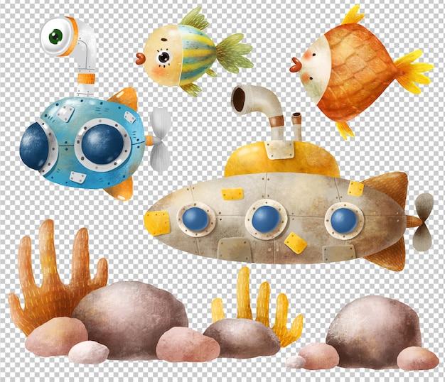 Conjunto de submarino e peixe dos desenhos animados