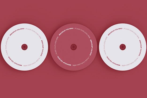 Conjunto de três maquetes de discos de cd