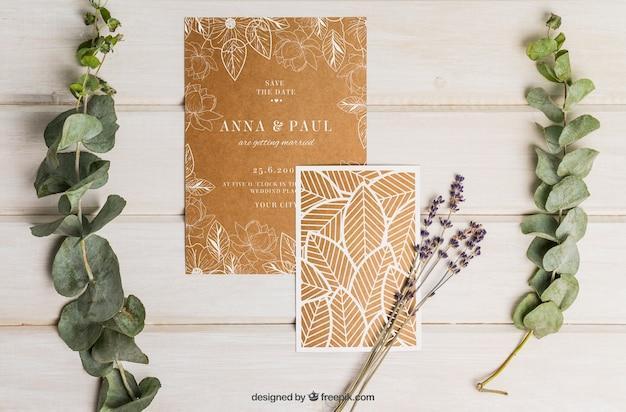 Conjunto elegante de casamento de papelão