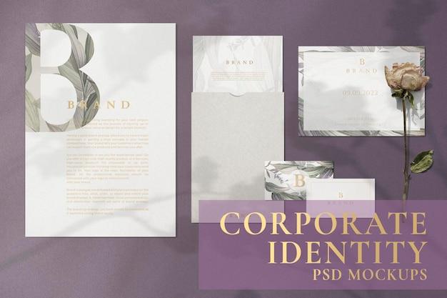 Conjunto floral de identidade corporativa e papelaria com marca psd