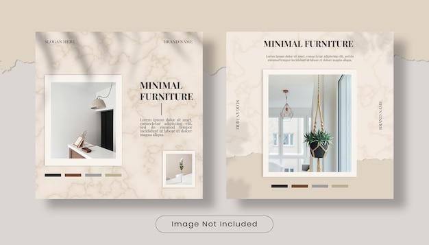 Conjunto mínimo de modelos de banner de post de instagram de design de interiores para casa Psd Premium