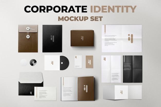 Conjunto psd de maquete de produto de identidade corporativa