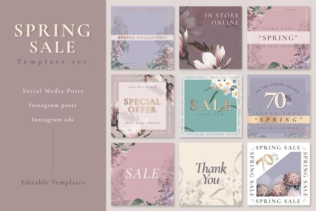 Conjunto psd de modelo editável de venda de primavera