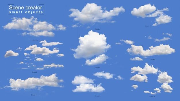 Conjunto realista de nuvens brancas