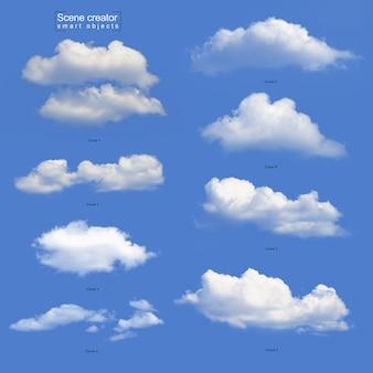 Conjunto realista nuvem branca