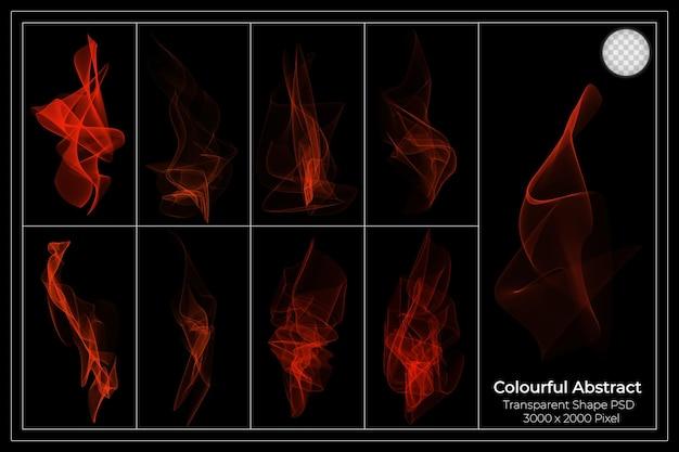 Conjunto transparente de chamas de fogo de fumaça colorida