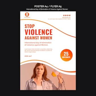 Conscientização sobre a violência contra as mulheres modelo de pôster a4