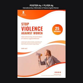 Conscientização sobre a violência contra as mulheres pôster a4 com foto