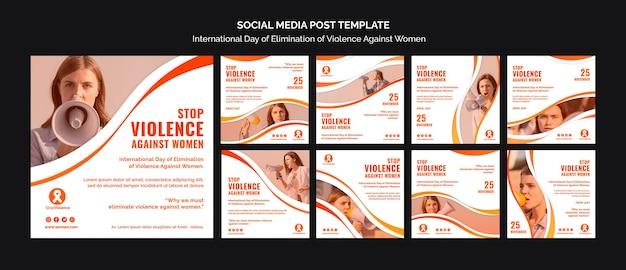 Conscientização sobre a violência contra mulheres postagens nas redes sociais
