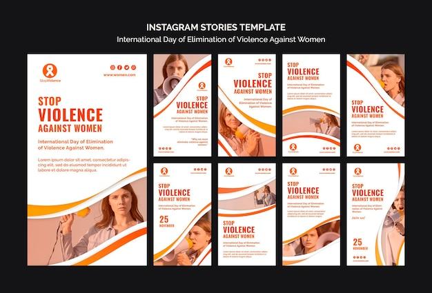 Conscientização sobre violência contra mulheres, histórias de mídia social Psd Premium