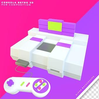 Console retro com controle 3d e jogo