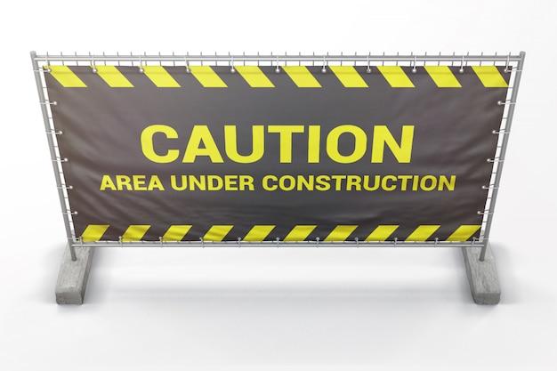 Construção de barreira com maquete de banner