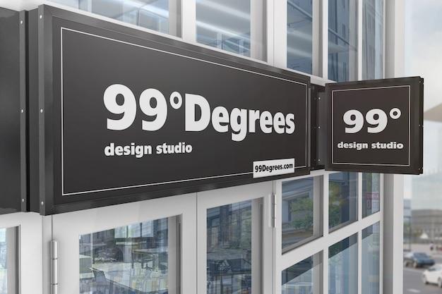 Construindo fasade signboards mockup