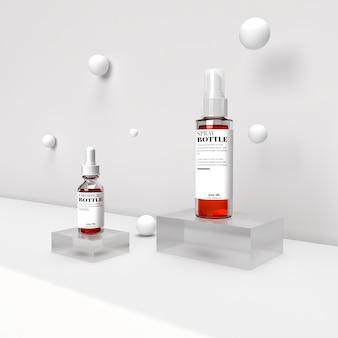 Conta-gotas e spray cosmético de maquete 3d realista