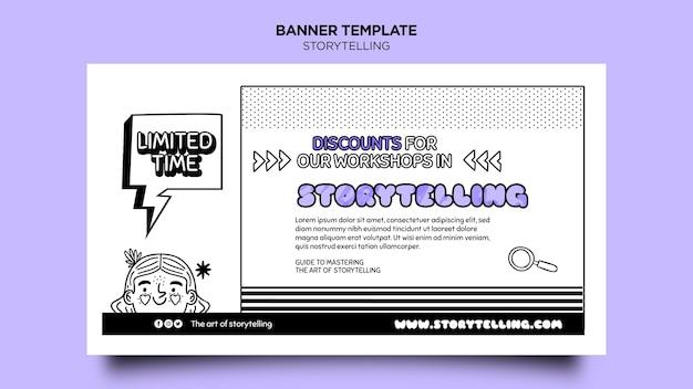 Contação de histórias para modelo de banner de marketing