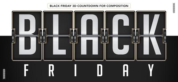 Contagem regressiva 3d da black friday para maquete de composição