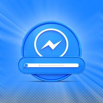 Contate-me nas redes sociais do messenger perfil do ícone do banner renderização 3d no terço inferior