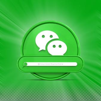 Contate-me nas redes sociais do wechat perfil do ícone do banner renderização 3d no terço inferior