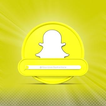 Contate-me nas redes sociais snapchat perfil do ícone do banner renderização 3d no terço inferior