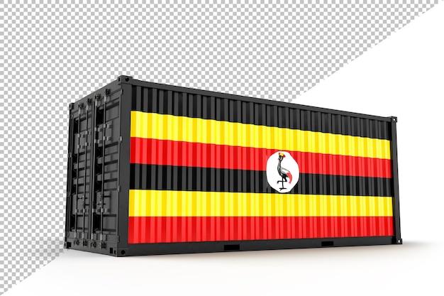 Contêiner de carga de transporte realista texturizado com uganda. isolado. renderização 3d