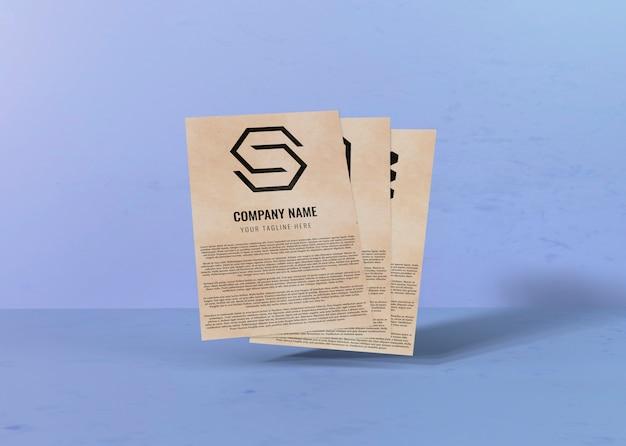 Contrato mock-up de papel e espaço para o logotipo da empresa
