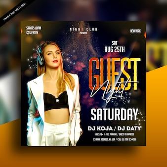 Convidado noite dj festa flyer
