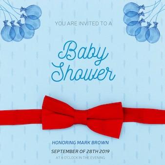 Convite azul para chá de bebê