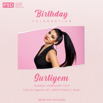 Convite de aniversário com modelo de moldura de papel rasgado