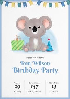 Convite de aniversário de coala em aquarela