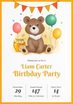 Convite de aniversário de ursinho de pelúcia em aquarela