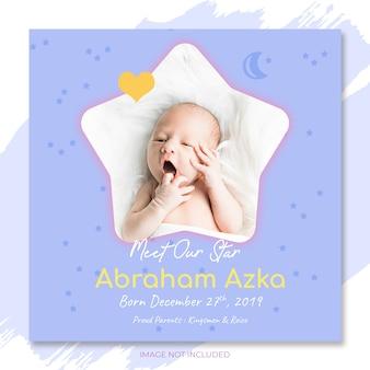 Convite de anúncio de bebê para modelo de festa de chá de bebê