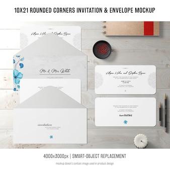 Convite de cantos arredondados e maquete de envelope