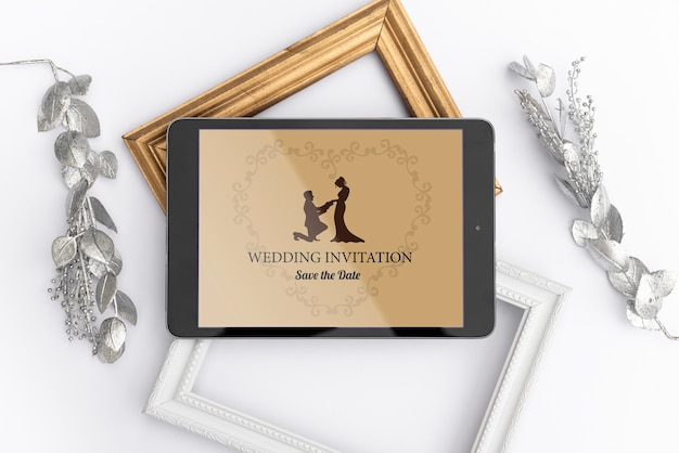 Convite de casamento bonito com maquete
