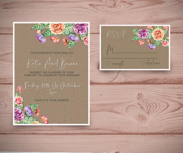 Convite de casamento com cartão rsvp